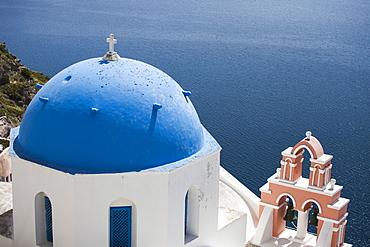 Blue dome rooftop in Santorini, Greece.