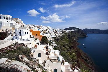 Cliffside view of Oia on Santorini, Greece.