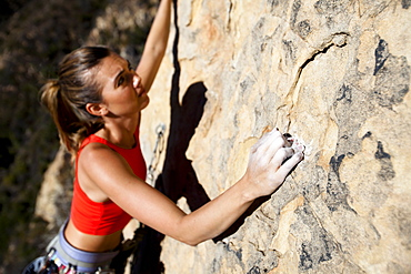 A woman wearing a red tank top crimps down on a small hold while climbing The Rapture (5.8) on Lower Gibraltar Rock in Santa Barbara, California.  The Rapture is a very nice and unbelievably well protected route on the left arête of Lower Gibraltar Rock.