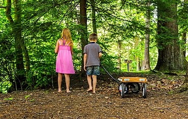 A boy and girl walk in the woods witha wagon at Koosier State Park PA during the summer