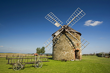 An old wind mill near the town of Vilemov in eastern Czech Republic. The mill is a fully operational flour mill.