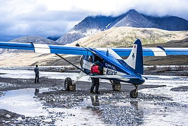 Bush Plane takeout on a Marsh Fork gravel bar along the Canning River, AK