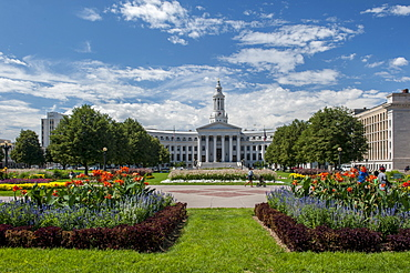 The Denver City and County Building with gardens in the foreground.