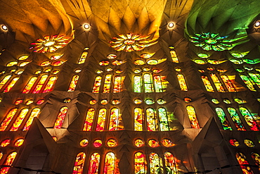 Stained glass windows at Sagrada Família in Barcelona, Spain