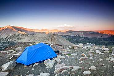 A tent is pitched high over the Uinta Wilderness in Utah.