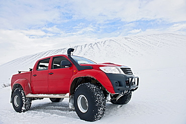 customised Icelandic 4x4 pick up truck parked at the Volcano Hverfjall