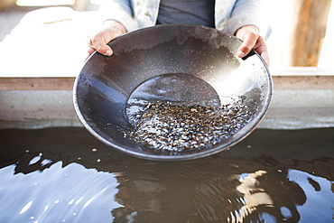 A young woman holds a black gold pan while panning for gold in Barkerville, British Columbia, Canada.