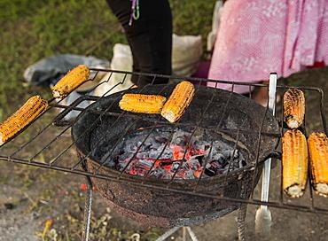 Locals grilling corn on a roadside in Antigua