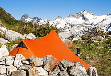 Campsite at White Rock Lake looking toward gunsight peak, Ptarmigan Traverse, North Cascades, Washington