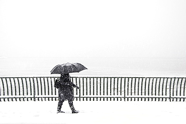 Person with an umbrella walking in a snow storm on a waterfront boardwalk