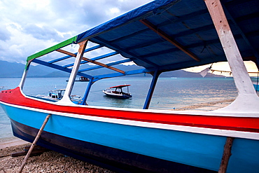 Boats on the tiny island of Gili Air, Indonesia.