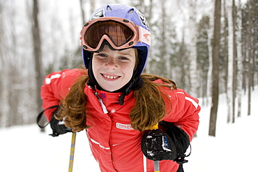 A young girl at Sunday River ski resort in Bethel, ME, United States of America