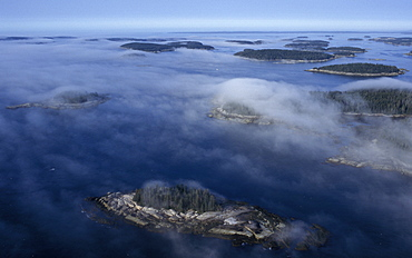 Aerial view of the Deer Island Thoroughfare near Stonington, Maine, United States