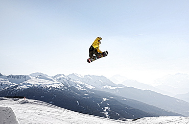 James Phillips snowboarding at Les Arcs