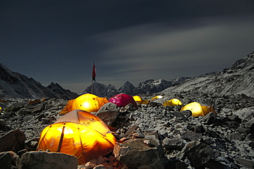 A night scene of the Everest Base Camp, where climbers call this home for more than 2 months. They use the site as a base to move up to higher camps and also rest during days of non climbing, Nepal