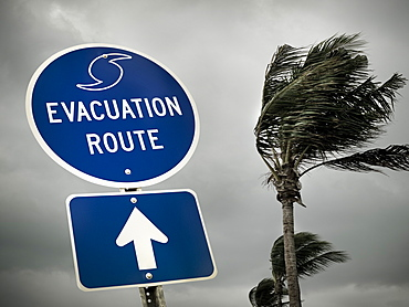 Hurricane route marker in Florida, USA, United States of America