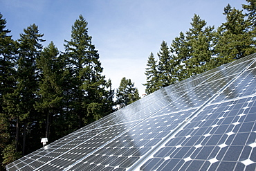 Photovoltaic panels on a roof, United States of America