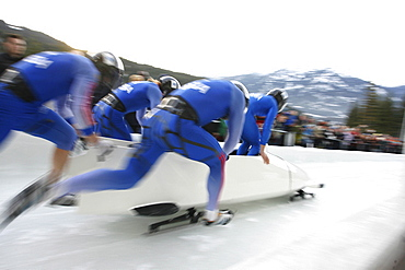 Whistler, BC, CANADA; A four man bobsleigh races at the at the Whistler Sliding Center as crowds look on, CANADA