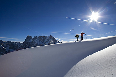 Skiing in Envers du Plan, Mont Blanc Massive, France