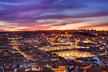 Vista over Lisbon's downtown and many of it's iconic monuments (Carmo convent, Praca da Figueira, Rossio), Lisbon, Portugal, 2009, Portugal