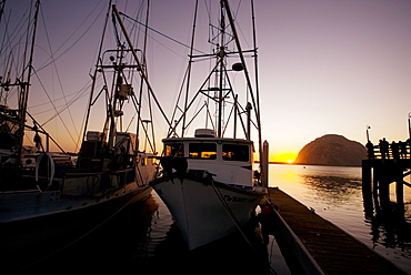"""Sept 22 to 26, 2008 Commercial fishing docks of Morro Bay California. Harbor in Morro Bay overlooking the signature Morro Bay """"rock"""", United States of America"""