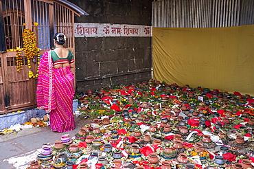 Offerings at the front of Siva temple, Nashik, Maharashtra, India.