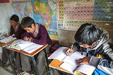 Schoolboys in a school in Hemis Shukpachen, Ladakh, India.