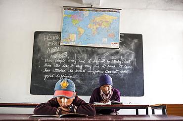 A classroom in a school in Hemis Shukpachen, Ladakh, India.