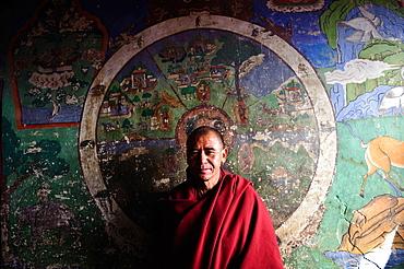 A monk in Spitok monastery, Ladakh, India.
