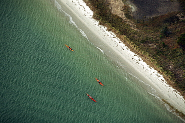 Aerials of Kayak race at Wrightsville Beach, NC
