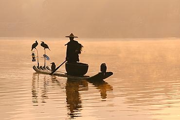 Chinese fisherman fishing in Li Jang River with cormorant birds, Guilin, China