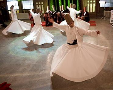 Whirling Dervishes perform traditional dance Istanbul, Turkey.