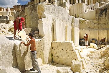 Men work at a limestone quarry, near Matanzas, Cuba.
