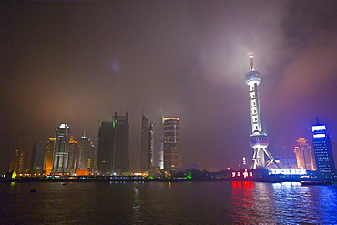 A night view of the Oriental Pearl Tower, Pudong, Shanghai, China.