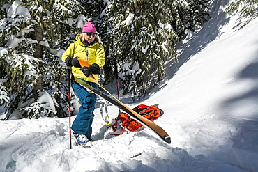 A woman backcountry skiing, San Juan National Forest, Durango, Colorado.