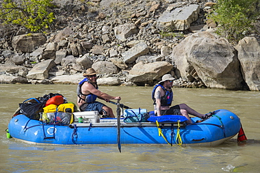 Rafters after tackling a rapid in Desolation Canyon along the Green River in Utah, Desolation and Gray Canyons, Utah, United States of America