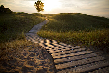 Boardwalk in Kohler-Andrae State Park in Sheboygan, Wisconsin offers camping and 2.5 miles of sandy beach.