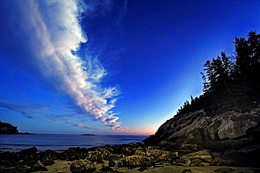 Some stars at dusk at Sand Beach in Acadia National Park, Maine.