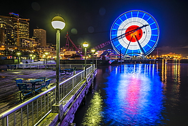 The Great Wheel on the Seattle waterfront lit up in memory of the Paris attacks.