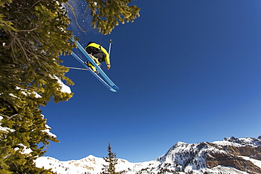 Noah Wetzel dropping a cliff in the bookends of Snowbird resort, Utah, United States of America