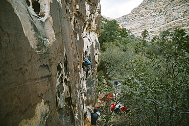 """A climber leading """"Ragged Edges"""" (5.7) in Red Rock Canyon, Nevada"""