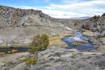 Hot Creek Geological Site in the Owens River Valley, California.