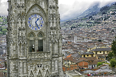 Ecuador, Quito, church steeples of the Basilica of the National Vow