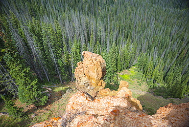 A view from on top of Rabbit Ears Peak in Routt National Forest