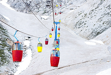 Gondola On Cables In Cortina D'ampezzo In Dolomites, Italy