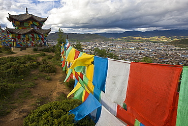 view of Gyalthang  through prayer flags