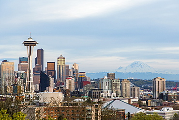 Downtown Seattle With View Of Space Needle And Mount Rainier