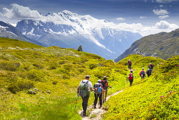 Group Of Hikers Hiking From Aiguillette Des Posettesinto The Chamonix Valley