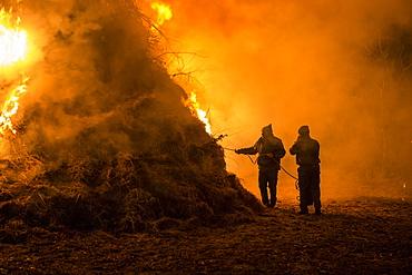 Lighting The Fire For The Befana In Dardago, Friuli, Italy