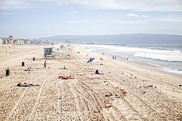 Swimmers And Sunbathers At Manhattan Beach